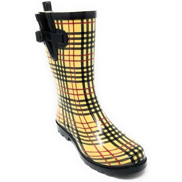 609bce81f Forever Young Shoes | Women Midcalf 11 Rubber Plaid Rainboots Rb5517 ...